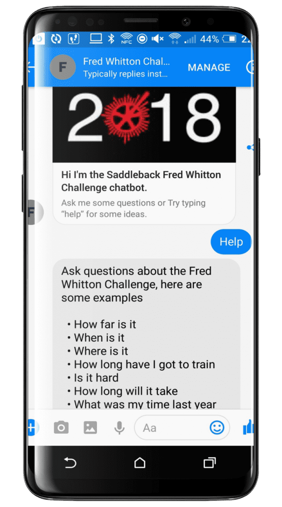Fred Whitton sports event chatbot interface