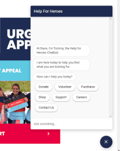 Help for Heroes chatbot welcome view